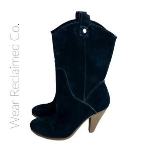 AMERICAN EAGLE Leather Suede Stacked Heel …